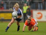 5 June 2011; Ciara McAnespie, Monaghan, in action against Sinead McCoy, Armagh. Ulster Ladies Football Senior Championship, Armagh v Monaghan, Armagh v Monaghan, Healy Park, Omagh, Co. Tyrone. Picture credit: Oliver McVeigh / SPORTSFILE