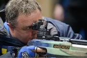 14 January 2017; Seamus Donoghue from Mullingar Co. Westmeath trying out parasport shooting during the Irish Paralympic Sport Expo at the National Sports Campus in Abbotstown, Dublin.  Photo by Eóin Noonan/Sportsfile