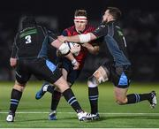 14 January 2017; Rory Scannell of Munster is tackled by Zander Fagerson, left, and Alex Dunbar of Glasgow Warriors during the European Rugby Champions Cup pool 1 round 5 match between Glasgow Warriors and Munster at Scotstoun Stadium in Glasgow, Scotland. Photo by Stephen McCarthy/Sportsfile