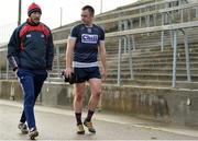15 January 2017; Billy Sheehan, left, Cork trainer and former Laois footballer, speaking with Paul Kerrigan as they make there way back to the dressing rooms before the McGrath Cup Round 3 match between Cork and Kerry at Mallow GAA Grounds in Mallow, Co Cork. Photo by Eóin Noonan/Sportsfile