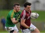 15 January 2017; Sean Armstrong of Galway in action against Conor Gallagher of Leitrim during the Connacht FBD League Section B Round 2 match between Leitrim and Galway at Sean O'Heslin Park in Ballinamore, Co Leitrim. Photo by Seb Daly/Sportsfile