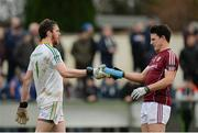 15 January 2017; Phillip Farrelly of Leitrim shares a drinks with Sean Armstrong of Galway during the Connacht FBD League Section B Round 2 match between Leitrim and Galway at Sean O'Heslin Park in Ballinamore, Co Leitrim. Photo by Seb Daly/Sportsfile