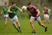15 January 2017; Killian McDaud of Galway in action against Wayne McKeon of Leitrim during the Connacht FBD League Section B Round 2 match between Leitrim and Galway at Sean O'Heslin Park in Ballinamore, Co Leitrim. Photo by Seb Daly/Sportsfile