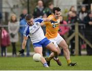 15 January 2017; Dermot Malone of Monaghan in action against Kevin Niblock of Antrim during the Bank of Ireland Dr. McKenna Cup Section B Round 2 match between Antrim and Monaghan at Glenavy in Co. Antrim. Photo by Mark Marlow/Sportsfile