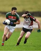 15 January 2017; Jason Doherty of Mayo in action against Eamonn McGrath of Sligo IT during the Connacht FBD League Section A Round 2 match between Mayo and Sligo IT at James Stephen's Park in Ballina, Co Mayo. Photo by David Maher/Sportsfile