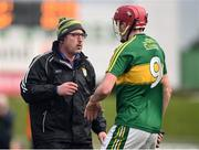 15 January 2017; Kerry manager Fintan O'Connor speaks to Thomas Casey during the Co-Op Superstores Munster Senior Hurling League Round 2 match between Kerry and Clare at Austin Stack Park in Tralee, Co Kerry. Photo by Diarmuid Greene/Sportsfile