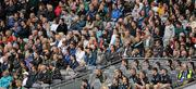 5 June 2011; Graham Geraghty, far left of the second row up, is seated with subs and supporters in the Hogan Stand during the first-half of the game. Leinster GAA Football Senior Championship Quarter-Final, Kildare v Meath, Croke Park, Dublin. Picture credit: Ray McManus / SPORTSFILE