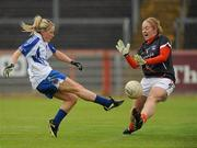 5 June 2011; Ciara McAnespie, Armagh, in action against Catherine McAlinden, Monaghan. Ulster Ladies Football Senior Championship, Armagh v Monaghan, Armagh v Monaghan, Healy Park, Omagh, Co. Tyrone. Picture credit: Oliver McVeigh / SPORTSFILE