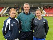 5 June 2011; Referee Kieran McShea along with Armagh captain Maebh Moriarty and Monaghan captain Sharon Courtney. Ulster Ladies Football Senior Championship, Armagh v Monaghan, Armagh v Monaghan, Healy Park, Omagh, Co. Tyrone. Picture credit: Oliver McVeigh / SPORTSFILE