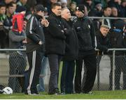15 January 2017; Kerry backroom staff, from left, manager Eamonn Fitzmaurice, Maurice Fitzgerald, Mikey Sheehy and Padraig Corcoran during the McGrath Cup Round 3 match between Cork and Kerry at Mallow GAA Grounds in Mallow, Co Cork. Photo by Eóin Noonan/Sportsfile