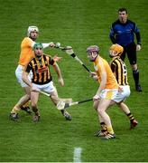 15 January 2017; Referee Paud O'Dwyer throws in the opening ball to, from left, Neil McManus of Antrim, Conor Martin of Kilkenny, Eoghan Campbell of Antrim, and Ollie Walsh of Kilkenny, during the Bord na Mona Walsh Cup Group 2 Round 2 match between Kilkenny and Antrim at Abbotstown GAA Ground in Abbotstown, Co Dublin. Photo by Cody Glenn/Sportsfile