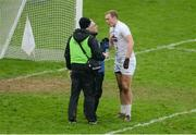 15 January 2017; Tommy Moolick of Kildare is treated by medics during the Bord na Mona O'Byrne Cup Group 2 Round 3 match between Offaly and Kildare at O'Connor Park in Tullamore, Co Offaly. Photo by Piaras Ó Mídheach/Sportsfile