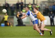 15 January 2017; Dermot Malone of Monaghan in action against Stephen Beatty of Antrim during the Bank of Ireland Dr. McKenna Cup Section B Round 2 match between Antrim and Monaghan at Glenavy in Co. Antrim. Photo by Mark Marlow/Sportsfile