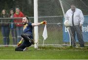 15 January 2017; Chris Kerr of Antrim fails to save the shot of Shane Carey of Monaghan during the Bank of Ireland Dr. McKenna Cup Section B Round 2 match between Antrim and Monaghan at Glenavy in Co. Antrim. Photo by Mark Marlow/Sportsfile