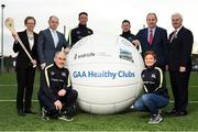 16 January 2017; Pictured at the GAA Healthy Clubs launch at Craobh Chiarain GAA Club, Parnell Park in Donnycarney, Dublin are, from left, Kate O'Flaherty, Director of Health & Wellbeing Programme, Department of Health Republic of Ireland, David Harney, CEO Irish Life, Tyrone manager Mickey Harte, Kilkenny hurler Michael Fennelly, Dublin footballer Philly McMahon, Dr. Aoife Lane, Chairperson of the Women's Gaelic Players Association and Head of Department of Sport and Health Science in Athlone Institute of Technology, Gerard Collins, Director of Population Health, Northern Ireland, and An Uachtarán Cumann Luthchleas Gael Aogán Ó Fearghail. The GAA launched the next stage of their pioneering project to transform Ireland's GAA clubs into ground-breaking healthy hubs. The launch intends to encourage more GAA clubs to get involved to support communities in pursuit of better physical, social and mental wellbeing. Photo by Cody Glenn/Sportsfile