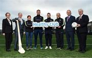 16 January 2017; Pictured at the GAA Healthy Clubs launch at Craobh Chiarain GAA Club, Parnell Park in Donnycarney, Dublin are, from left, Kate O'Flaherty, Director of Health & Wellbeing Programme, Department of Health Republic of Ireland, David Harney, CEO Irish Life, Dr. Aoife Lane, Chairperson of the Women's Gaelic Players Association and Head of Department of Sport and Health Science in Athlone Institute of Technology, Kilkenny hurler Michael Fennelly, Dublin footballer Philly McMahon, Tyrone manager Mickey Harte, Gerard Collins, Director of Population Health, Northern Ireland, and An Uachtarán Cumann Luthchleas Gael Aogán Ó Fearghail. The GAA launched the next stage of their pioneering project to transform Ireland's GAA clubs into ground-breaking healthy hubs. The launch intends to encourage more GAA clubs to get involved to support communities in pursuit of better physical, social and mental wellbeing. Photo by Cody Glenn/Sportsfile