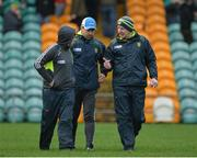 15 January 2017; Donegal manager Declan Bonner, right, along with Garry Boyle, left, and Anthony McGrath selectors during the Bank of Ireland Dr. McKenna Cup Section C Round 2 match between Donegal and Cavan at Pairc MacCumhaill in Ballybofey, Co Donegal. Photo by Oliver McVeigh/Sportsfile