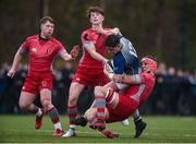 17 January 2017; Shane Brosnahan of St. Clement's College is tackled by Aran Egan and Mark Walsh of Glenstal Abbey during the Clayton Hotels Munster Schools Senior Cup 1st Round match between Glenstal Abbey and St. Clement's College at the University of Limerick in Limerick. Photo by Diarmuid Greene/Sportsfile
