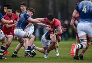 17 January 2017; Mark Fleming of Glenstal Abbey is tackled by Michael Kiely, left, and Shane Brosnahan of St. Clement's College during the Clayton Hotels Munster Schools Senior Cup 1st Round match between Glenstal Abbey and St. Clement's College at the University of Limerick in Limerick. Photo by Diarmuid Greene/Sportsfile
