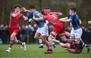 17 January 2017; Shane Brosnahan of St. Clement's College is tackled by Aran Egan, left, and Mark Walsh of Glenstal Abbey during the Clayton Hotels Munster Schools Senior Cup 1st Round match between Glenstal Abbey and St. Clement's College at the University of Limerick in Limerick. Photo by Diarmuid Greene/Sportsfile