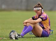 11 June 2011; Dejected Wexford goalkeeper Mags D'Arcy after the game. All-Ireland Senior Camogie Championship, Round One, Wexford v Galway, Bellefield, Enniscorthy, Co. Wexford. Picture credit: Barry Cregg / SPORTSFILE