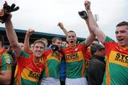 12 June 2011; Carlow players from left Paul Cashin, Sean Gannon, Brendan Murphy and Thomas Walsh, celebrate after the final whistle. Leinster GAA Football Senior Championship Quarter-Final, Carlow v Louth, O'Moore Park, Portlaoise, Co. Laois. Picture credit: Matt Browne / SPORTSFILE