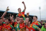 12 June 2011; Carlow players, from left, Padraig Murphy, Kieran Nolan, John Murphy, Paul Cashin, Eoghan Ruth, Darragh Foley, and Conor Lawlor celebrate after the final whistle. Leinster GAA Football Senior Championship Quarter-Final, Carlow v Louth, O'Moore Park, Portlaoise, Co. Laois. Picture credit: Matt Browne / SPORTSFILE