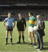 16 September 1979; Referee Hugh Duggan with Dublin captain Tony Hanahoe and Kerry captain Tim Kennelly before the start of the game. GAA Football All-Ireland Senior Championship Final, Dublin v Kerry, Croke Park, Dublin. Picture credit: Connolly Collection / SPORTSFILE
