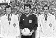 16 September 1979; Referee Hugh Duggan  before the start of the GAA Football All-Ireland Senior Championship Final between Dublin and Kerry at Croke Park in Dublin. Picture credit: Connolly Collection / SPORTSFILE