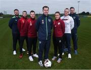 18 January 2017; IT Carlow has been successfully running two sports courses, in conjunction with the Football Association of Ireland, with students qualifying with BA in Sports Management and Coaching or BA in Sports Coaching and Business Management.  Graduates from the course are now working in various roles within the sports industry around the world, including prominent positions at clubs like Manchester United as well as the SSE Airtricity League and Continental Tyres Women's National League.  Now, course coordinator Luke Hardy is hoping to attract the best possible candidates for the new academic year and outline the benefits of the two courses. Pictured at the IT Carlow Sports Course launch are Luke Hardy, centre, IT Carlow Course Leader, with, from left, course graduate Craig Sexton, coach of the Bohemian FC under-19 team, Anthony McAlavey, IT Carlow course student and Waterford United player Jonny Bonner, IT Carlow course student and Finn Harps player, Rachel Graham IT Carlow course students and Shelbourne Ladies player, Micheal Schlingermann, IT Carlow course graduate, and Sligo Rovers player and Tom Elmes Programme Assistant at IT Carlow. FAI National Training Centre, Abbotstown, Co Dublin. Photo by Matt Browne/Sportsfile