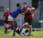 18 January 2017; David Young of Kilkenny College is tackled by Josh Anidi of Wilsons Hospital during the Bank of Ireland Vinnie Murray Cup Round 2 match between Kilkenny College and Wilsons Hospital at Donnybrook Stadium in Donnybrook, Dublin. Photo by Cody Glenn/Sportsfile