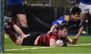 18 January 2017; Stuart Dudley of Kilkenny College scores a try despite the defence of Zach Meehan of Wilsons Hospital during the Bank of Ireland Vinnie Murray Cup Round 2 match between Kilkenny College and Wilsons Hospital at Donnybrook Stadium in Donnybrook, Dublin. Photo by Cody Glenn/Sportsfile