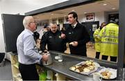 18 January 2017; Match referee Sean Hurson, right, along with Brian Crowe, former referee, centre, getting some refreshments from Armagh official Joe Gordon before the Bank of Ireland Dr. McKenna Cup Section A Round 3 match between Armagh and Down at the Athletic Grounds in Armagh. Photo by Oliver McVeigh/Sportsfile
