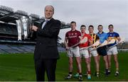 19 January 2017; Bord Gáis Energy was today announced as official sponsor of the GAA Hurling All-Ireland Senior Championship for the next three years.  The sponsorship expands the company's long standing association with the GAA as they also continue to sponsor the Bord Gáis Energy GAA Hurling U-21 All-Ireland Championship and the Bord Gáis Energy GAA Legends Tours at Croke Park. The new sponsorship allows Bord Gáis Energy to develop even more great GAA rewards for customers all over the country who are members of the Bord Gáis Energy Rewards Club.  This will include direct access to tickets for Senior Hurling Championship matches. Pictured at the launch is Dave Kirwan, Managing Director, Bord Gáis Energy, with the Liam MacCarthy Cup, and players, from left, Galway star Joe Canning, Cork star Patrick Horgan, Kilkenny star Paul Murphy, Dublin star Liam Rushe, and Tipperary star Seamus Callinan. Croke Park, Dublin. Photo by Cody Glenn/Sportsfile