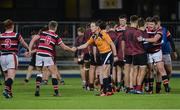 19 January 2017; Sam Darley of Wesley College shakes hands with referee Berney White after the Bank of Ireland Vinnie Murray Cup Round 2 match between Wesley College and Gormanston College at Donnybrook Stadium in Dublin. Photo by Piaras Ó Mídheach/Sportsfile