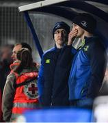 20 January 2017; Jonathan Sexton of Leinster, with Leinster head physiotherapist Garreth Farrell, watches on from the bench during the European Rugby Champions Cup Pool 4 Round 6 match between Castres and Leinster at Stade Pierre Antoine in Castres, France. Photo by Stephen McCarthy/Sportsfile