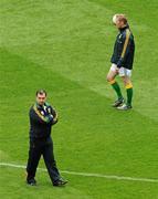5 June 2011; Meath manager Seamus McEnaney watches the team warm-up as Graham Geraghty walks by. Leinster GAA Football Senior Championship Quarter-Final, Kildare v Meath, Croke Park, Dublin. Picture credit: Brendan Moran / SPORTSFILE