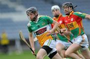 15 June 2011; James Mulrooney, Offaly, in action against Eddie Coady, Carlow. Walsh Cup Shield Final, Carlow v Offaly, O'Moore Park, Portlaoise, Co. Laois. Picture credit: Matt Browne / SPORTSFILE