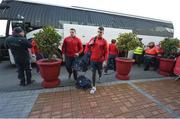21 January 2017; CJ Stander, left, and Conor Murray arrive ahead of the European Rugby Champions Cup Pool 1 Round 6 match between Munster and Racing 92 at Thomond Park in Limerick. Photo by Diarmuid Greene/Sportsfile