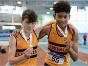 21 January 2017; Harry Nevin of Leevale A.C. and Reece Ademola of Leevale A.C. with their medals after winning the Boys U14 Pentathlon and the Boys U15 Pentathlon during the Irish Life Health National Indoor Combined Events Championships at AIT International Arena in Athlone, Co. Westmeath. Photo by Eóin Noonan/Sportsfile