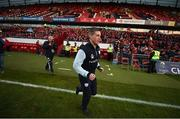 21 January 2017; Racing 92 defence coach Ronan O'Gara makes his way to the pitch ahead of the European Rugby Champions Cup Pool 1 Round 6 match between Munster and Racing 92 at Thomond Park in Limerick. Photo by Diarmuid Greene/Sportsfile