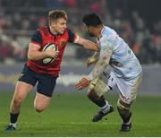 21 January 2017; Rory Scannell of Munster is tackled by So'otala Fa'aso'o of Racing 92 during the European Rugby Champions Cup Pool 1 Round 6 match between Munster and Racing 92 at Thomond Park in Limerick. Photo by Brendan Moran/Sportsfile