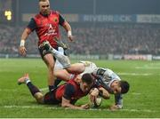 21 January 2017; Ronan O'Mahony of Munster scores his side's second try during the European Rugby Champions Cup Pool 1 Round 6 match between Munster and Racing 92 at Thomond Park in Limerick. Photo by Brendan Moran/Sportsfile