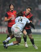 21 January 2017; Ronan O'Mahony of Munster is tackled by Teddy Thomas of Racing 92 during the European Rugby Champions Cup Pool 1 Round 6 match between Munster and Racing 92 at Thomond Park in Limerick. Photo by Brendan Moran/Sportsfile
