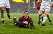 21 January 2017; Ian Keatley of Munster scores his side's third try during the European Rugby Champions Cup Pool 1 Round 6 match between Munster and Racing 92 at Thomond Park in Limerick. Photo by Diarmuid Greene/Sportsfile