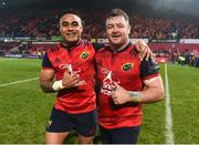21 January 2017; Francis Saili and Dave Kilcoyne of Munster celebrate after the European Rugby Champions Cup Pool 1 Round 6 match between Munster and Racing 92 at Thomond Park in Limerick. Photo by Diarmuid Greene/Sportsfile
