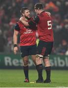 21 January 2017; Rhys Marshall, left,  and Donnacha Ryan of Munster celebrate at the final whistle after the European Rugby Champions Cup Pool 1 Round 6 match between Munster and Racing 92 at Thomond Park in Limerick. Photo by Diarmuid Greene/Sportsfile