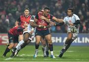 21 January 2017; Francis Saili of Munster is tackled by Teddy Thomas of Racing 92 during the European Rugby Champions Cup Pool 1 Round 6 match between Munster and Racing 92 at Thomond Park in Limerick. Photo by Brendan Moran/Sportsfile