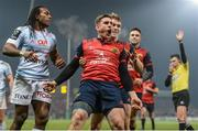 21 January 2017; Ian Keatley of Munster celebrates with team-mate Rory Scannell after scoring his side's third try during the European Rugby Champions Cup Pool 1 Round 6 match between Munster and Racing 92 at Thomond Park in Limerick. Photo by Diarmuid Greene/Sportsfile