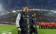 21 January 2017; Racing 92 defence coach Ronan O'Gara, left, and Racing 92 backs coach Laurent Labit ahead of the European Rugby Champions Cup Pool 1 Round 6 match between Munster and Racing 92 at Thomond Park in Limerick. Photo by Brendan Moran/Sportsfile